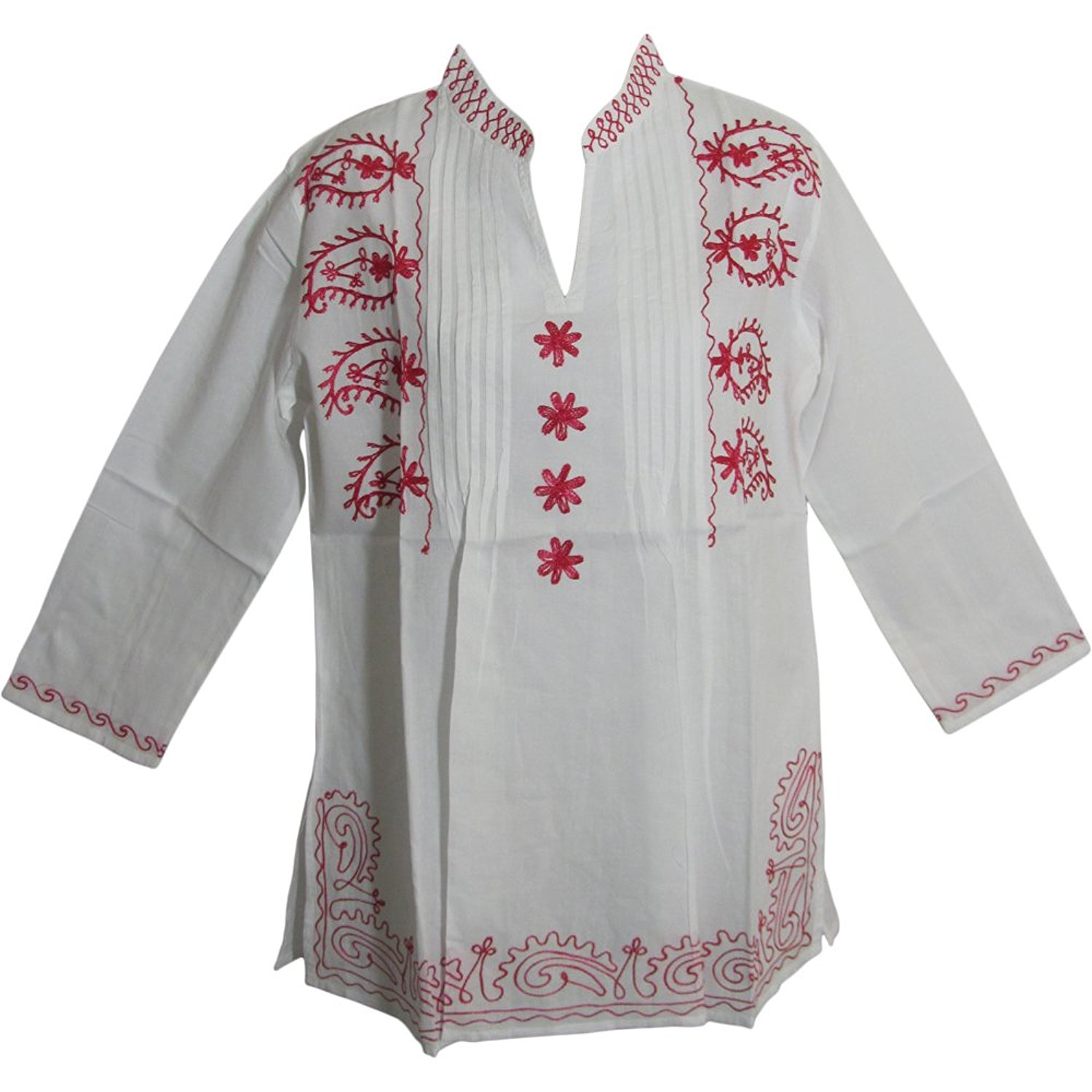 d3b14a2977242 Get Quotations · Yoga Trendz Indian Mandarin Collar Paisley Embroidered  White Cotton Peasant Tunic Blouse