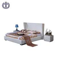 high quality luxury furniture queen white leather bed set wooden frame leather crean white modern king double bed