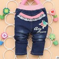 2016 Spring Autumn English letters behind 3 flower PP deer printing baby girls jeans pants B096