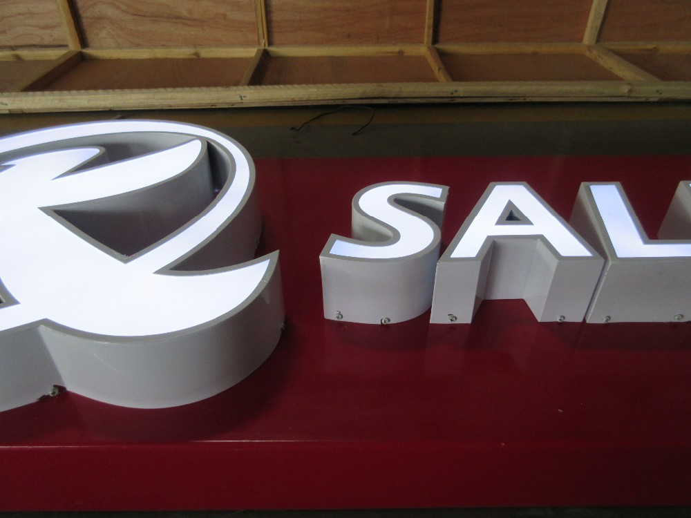 Wall hanging Led lighting frontlit plastic name sign board letters for mobile phone brand