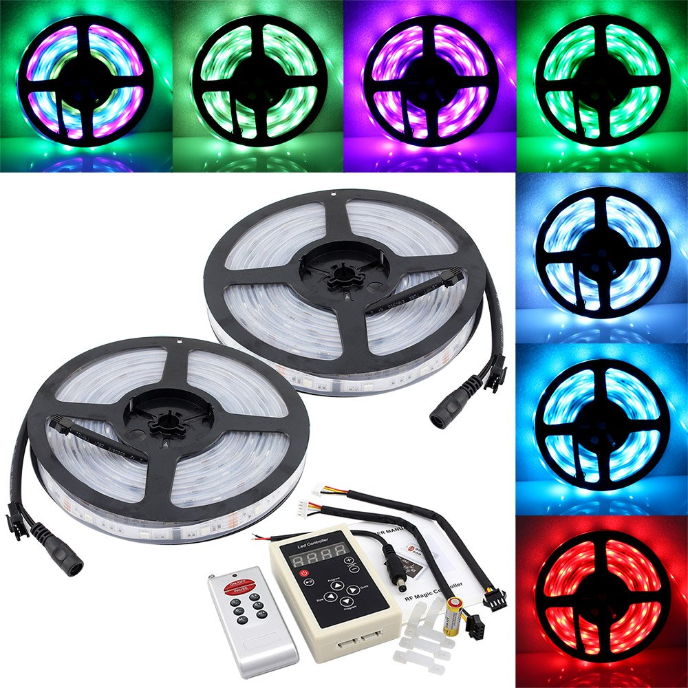 IWISHLIGHT 32.8ft 10M SMD 5050 Dream Magic RGB Color LED Color Flexible Light Strip IP67 Water-resistant + IC6803 IC Chip + 133 Change RF Remote Controller