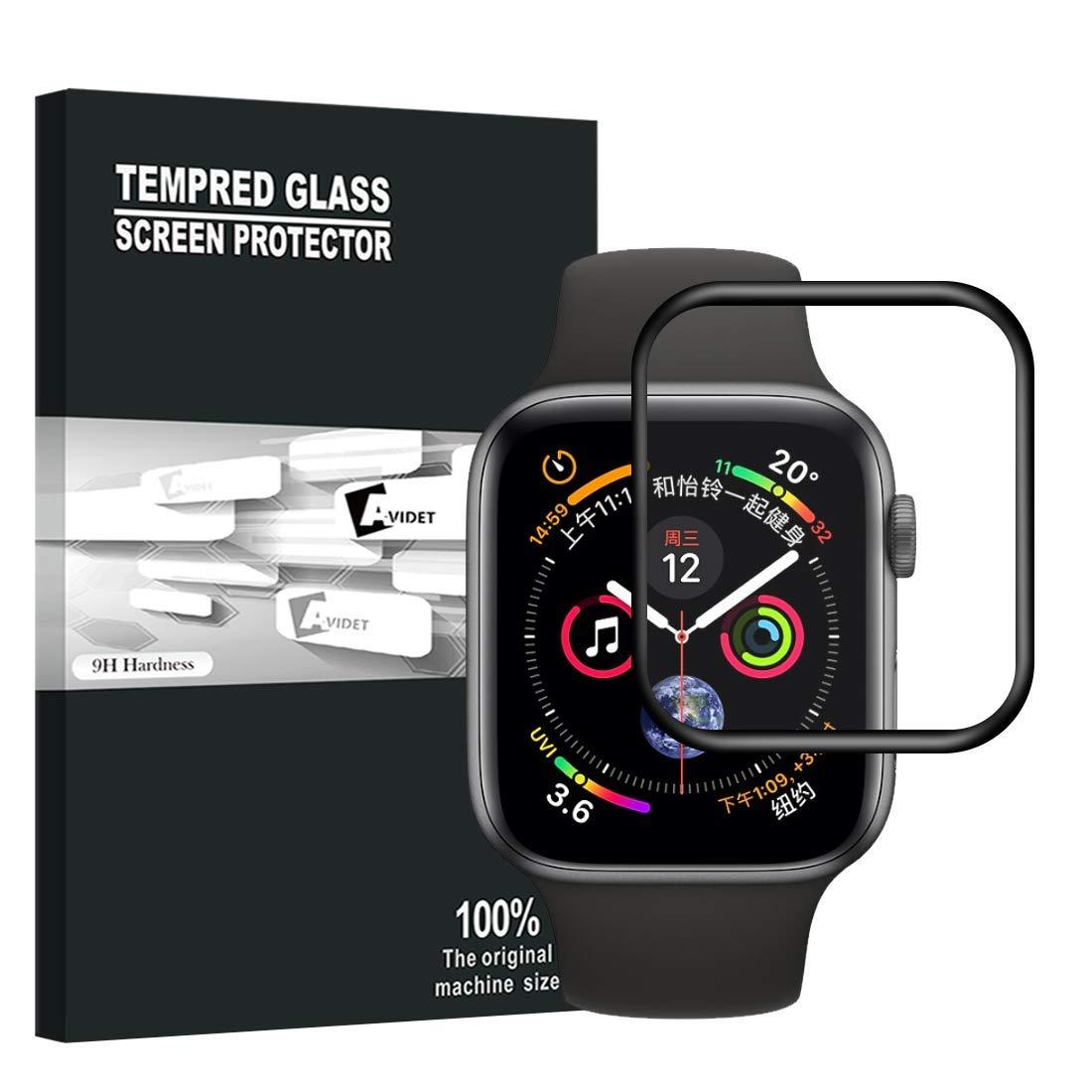AVIDET Screen Protector for Apple Watch Series 4 40mm, 9H Hardness 0.3mm Ultra Slim 3D Full Coverage Premium Tempered Glass Screen Protector for Apple Watch Series 4 40mm(Black)