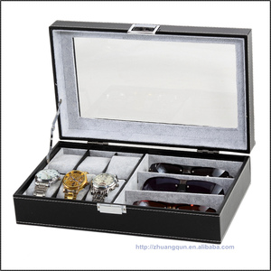 High Grade New Material Combo black and brown leather 6 Watch Box 3 custom eyeglass box