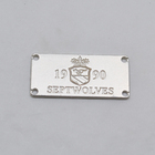 high polished pearl Silver custom garment tags badge metal for clothes
