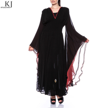 fashion high quality trumpet sleeves islamic clothing black moroccan dubai royal kaftan long dress chiffon caftan muslim dress