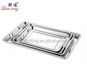 Different size stainless steel rectangular tray bbq tray restaurant hospital food serving tray with handle
