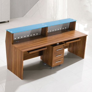 Factory supplies cheap price wooden office table spa counter salon hotel standing modern front desk