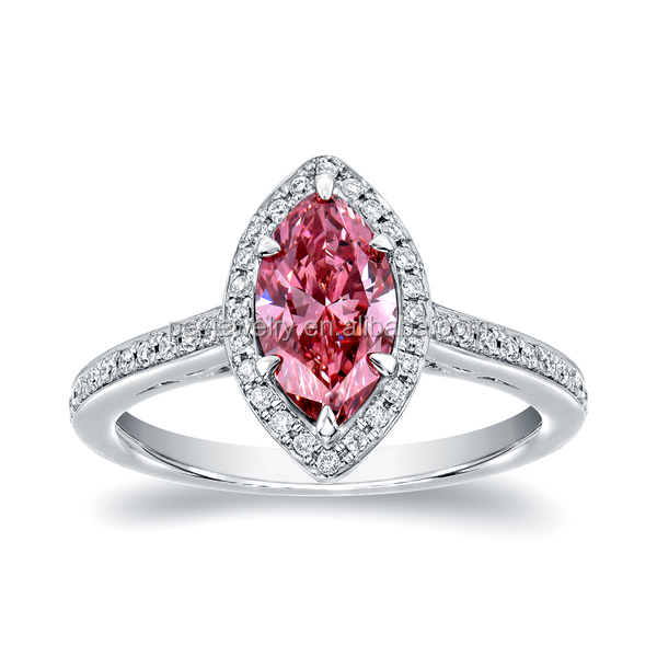 PES Fashion Jewelry! White Gold Marquise Halo Pink Diamond Engagement Ring (PES6-1792)