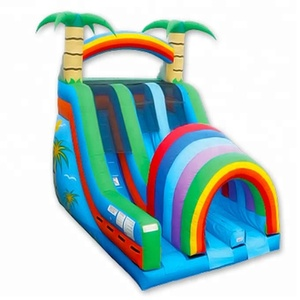 Hot sell Rainbow air bouncer inflatable water slide with pool for aquatic park