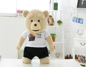 40/60/80cm beautiful lovely customized beige stuffed plush teddy bear doll toy with LOGO printed white T-shirt&black shorts