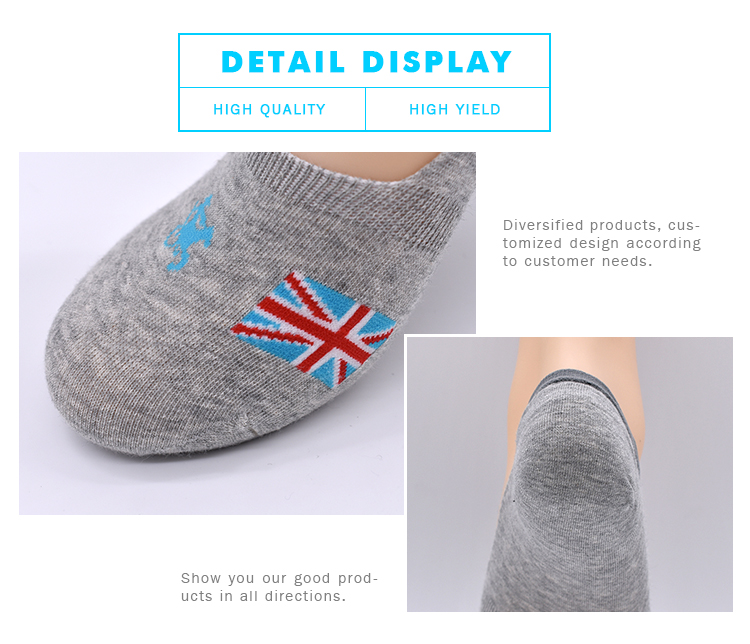 Custom Cotton Boat Liner Stealth English Flag 100% Cotton Black No Show Invisible Low Cut Mens Socks