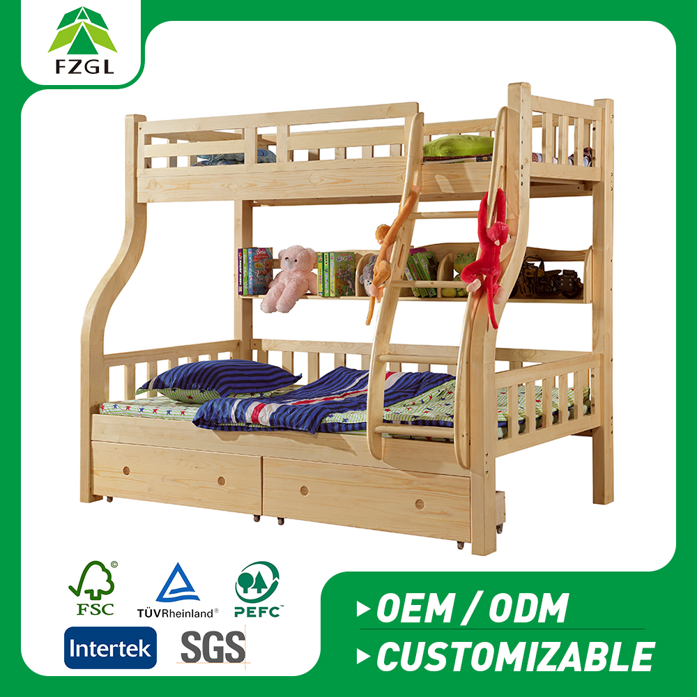 Fashion Furniture kids double bunk bed/Solid wood bed Manufacturers solid wood Children pine bed