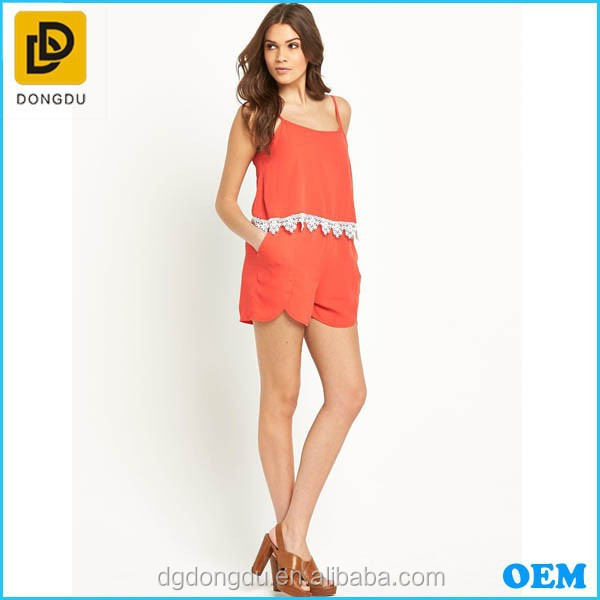 Summer Women Playsuit In Orange Color With Lace Ornament