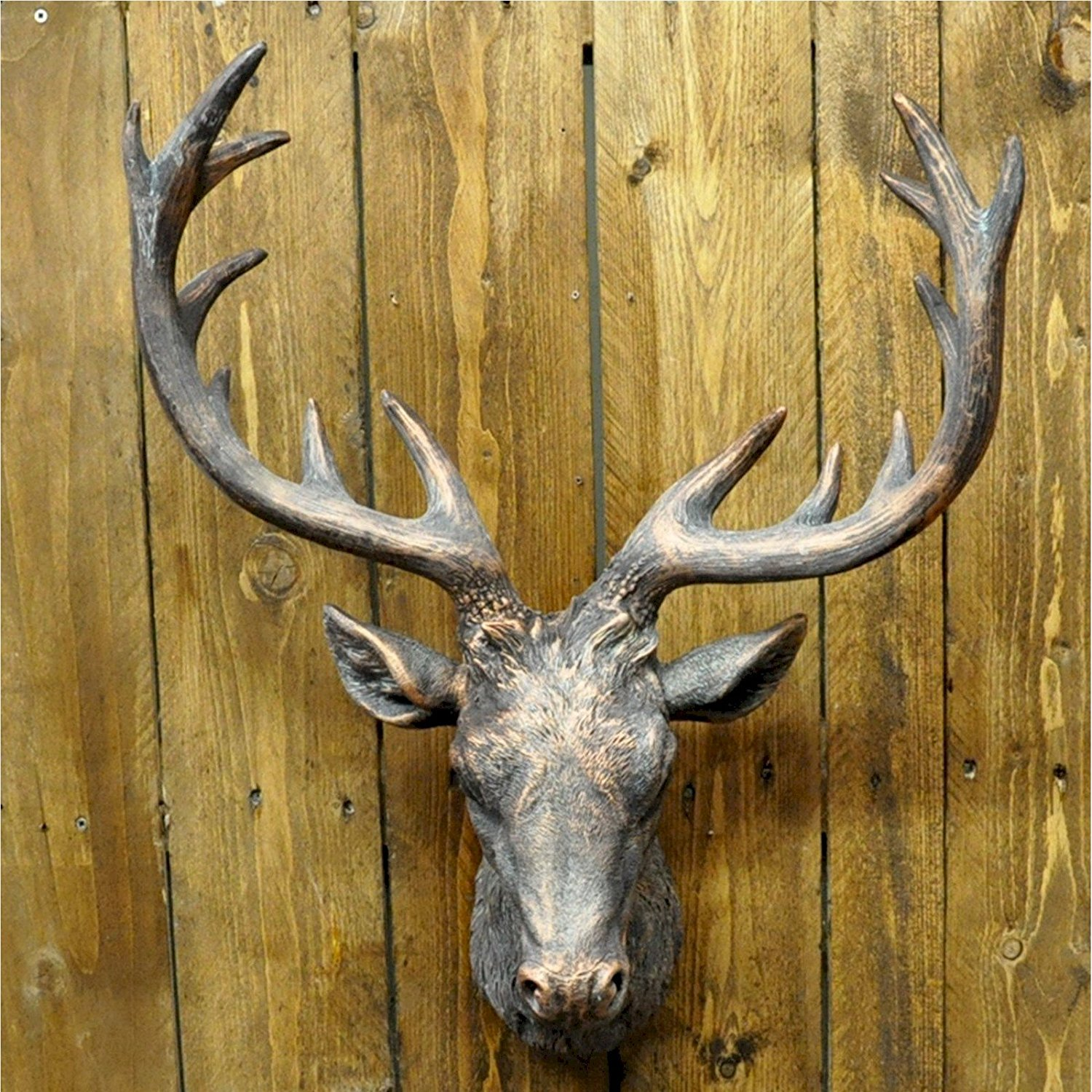 Buy Large Painted Bronze Wall Hanging Deer Stags Head Wall Art in ...
