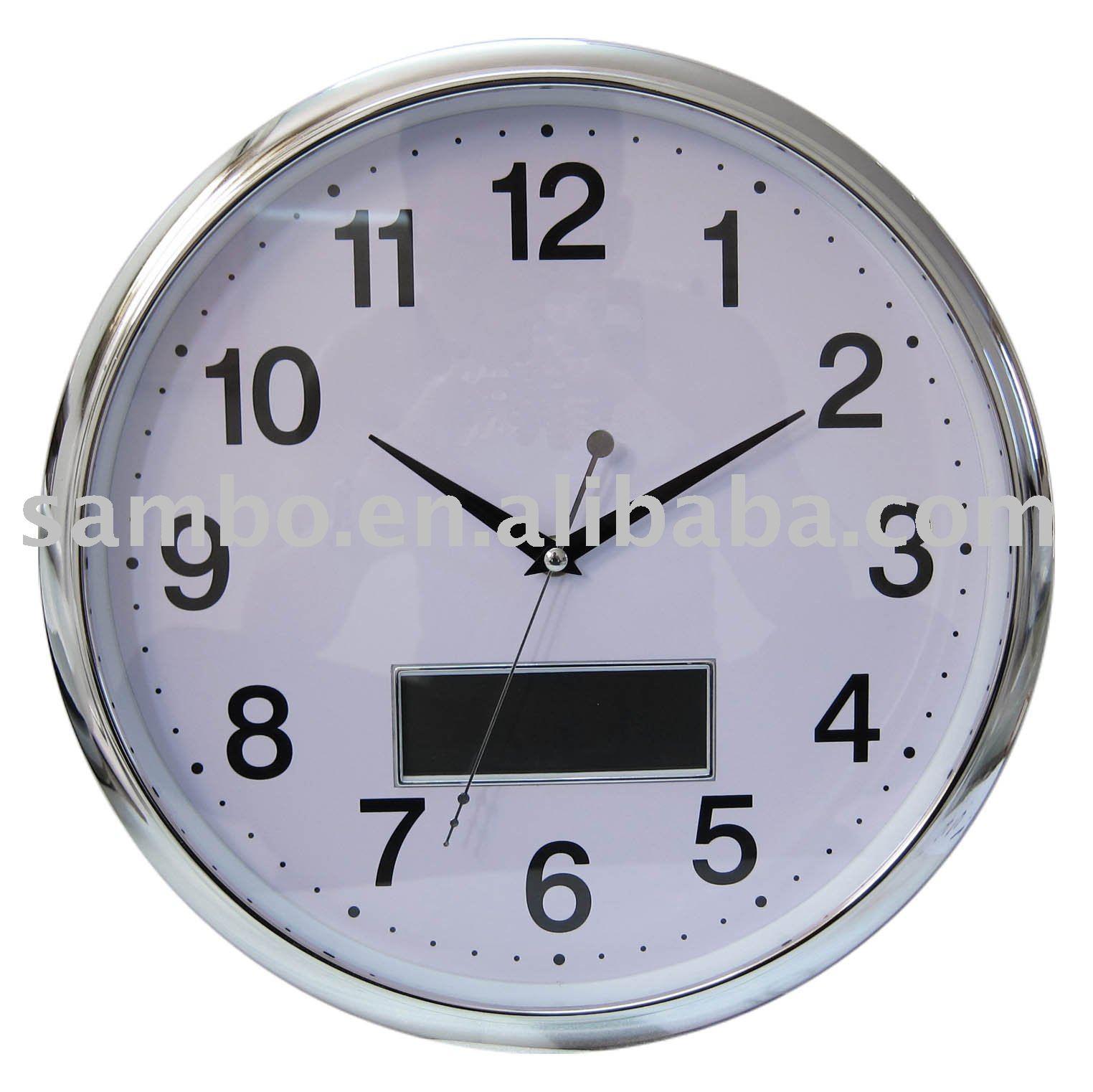num rique horloge murale avec jour affichage de la date horloge murale id de produit 374622703. Black Bedroom Furniture Sets. Home Design Ideas