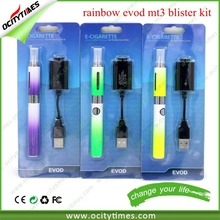 evod mt3 blister pack e cigarette starter kit stainless rainbow evod mt3/evod twist 3