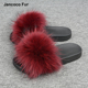Good Price Girl Beach Slipper Wine Red Color Sandals Cheap Raccoon Fur Slides