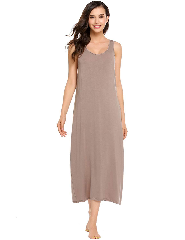 a8f8f43445 Get Quotations · pehie Womens Sleeveless O-Neck Soft Sexy Solid Cotton  Nighties Sleepwear Dress