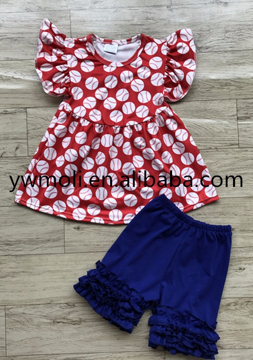 wholesale moli boutique clothing kids wear pearl dress match shorts baseball outfit