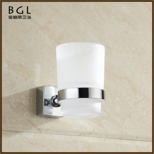 Sleek Traditional Zinc Alloy And Frosted Glass Burnished Chrome Wall-mounted Bathroom Accessories Single Tumbler Holder
