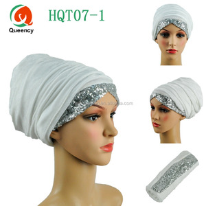 "HQT07 Hot sale !!New arrival African gele with sequins Width 72""*22"" Indian turban Many colors African headtie for women turban."