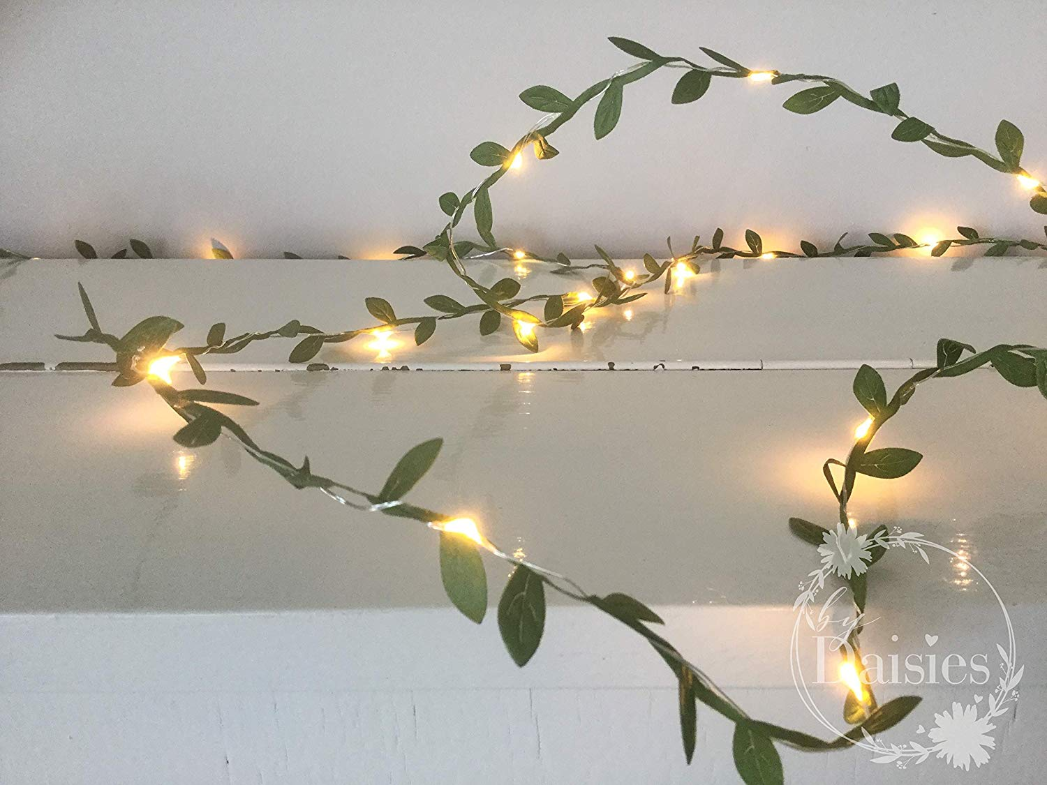 Green leaves fairy lights 2m-10m 20-100 LED - string lights garland - AA Battery Powered - Wedding Decorations - spring decorations - Warm White - Leaf Fairy Lights - Green Leaf Garland