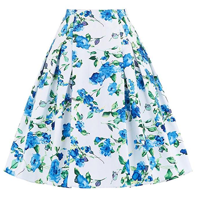 GRACE KARIN Women Girls A-Line Flared Grid School Skirt Vintage Belt Decorated Elastic Waist Party Prom Skirt