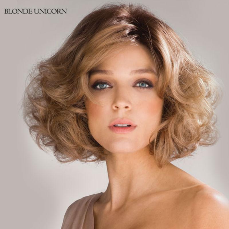 Blonde Unicorn Wigs 2016 New Stylish Wavy Bob Human Hair
