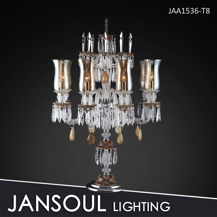 Brown color crystal table standing chandelier with glass shade