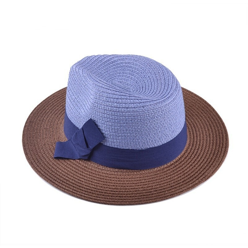 40ec29e01f0 Get Quotations · hot-selling new style fedora cap fashion unisex blue top  sun hat flat brim outdoor