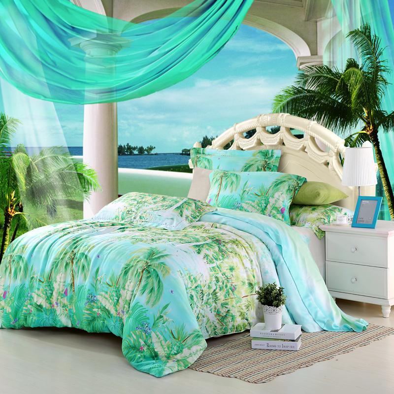 Blue Green Turquoise Bedding Sets Queen King Size Palm