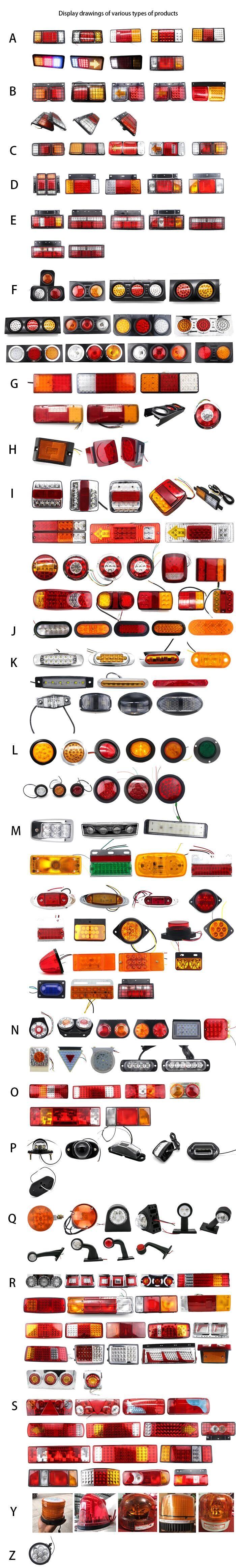 カスタマイズされた 10-30 ボルト 19LED プラスチック電気めっきリングダブルカラーラウンドテールライトトラック led ストップ