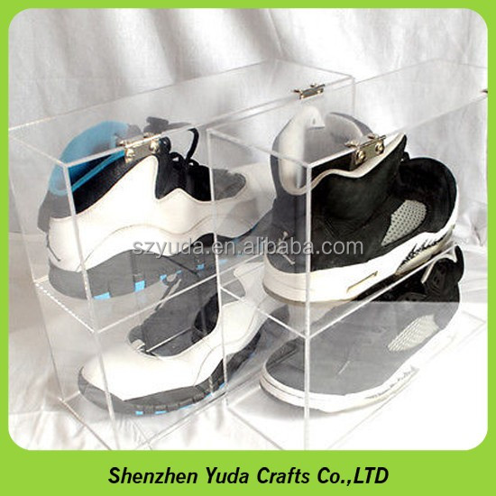 wholesale two Layer Multi Acrylic Shoe Storage Box,Plastic Sneaker Box