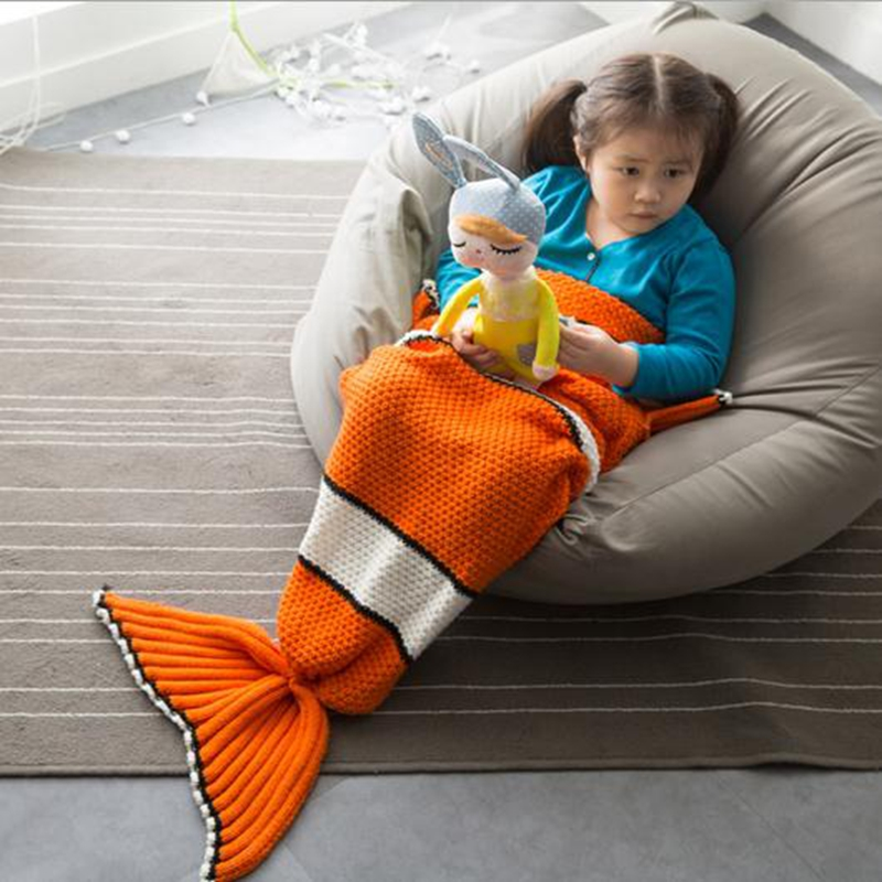 Nemo Fish Kids Mermaid Tail Handmade Blanket