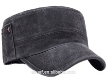 Wholesale fashion adjustable mens enzyme washed cotton twill cadet flat top men cap hat