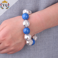 BYQ-00287 simple fashionable bracelet alloy big blue and silver plated beads