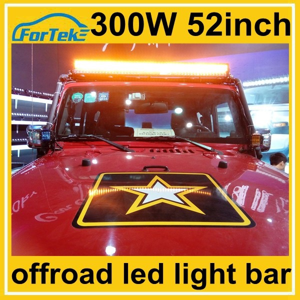 yellow flashing 52 inch led light bar offroad light bar 300w