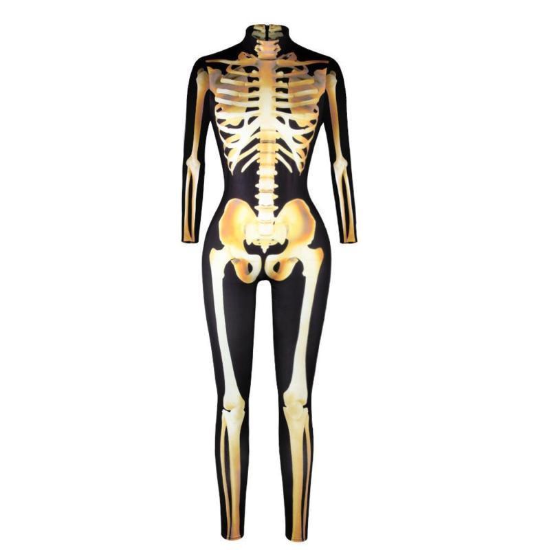 Women Skeleton Bone Frame Jumpsuit Bodysuit Fancy Dead Halloween Cosplay Costume