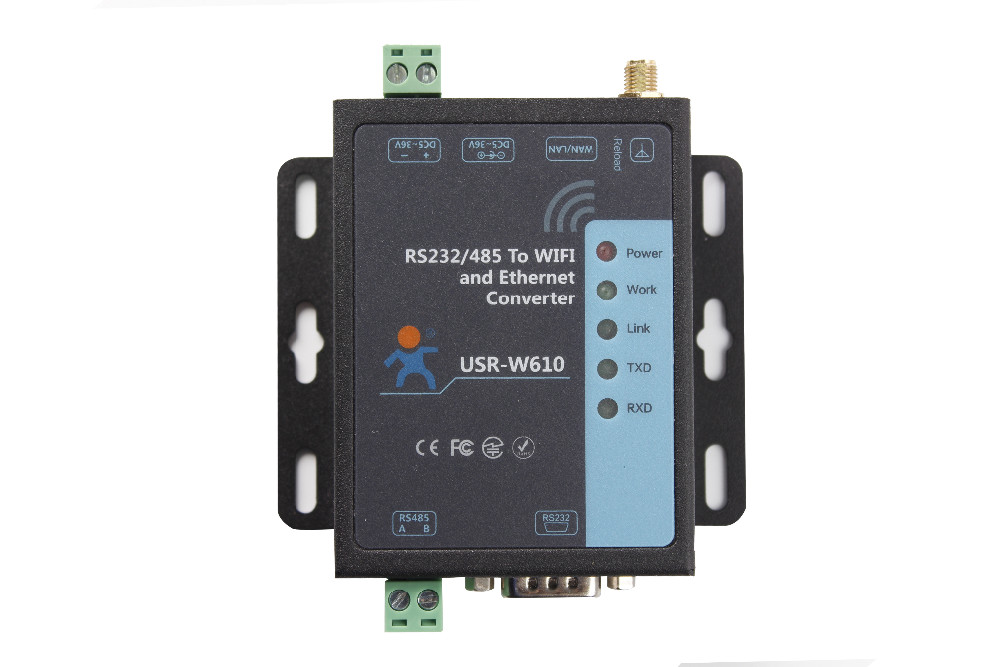 RS232 RS485 Serial To WiFi and Ethernet Converter USR-W610 Support TCP Server