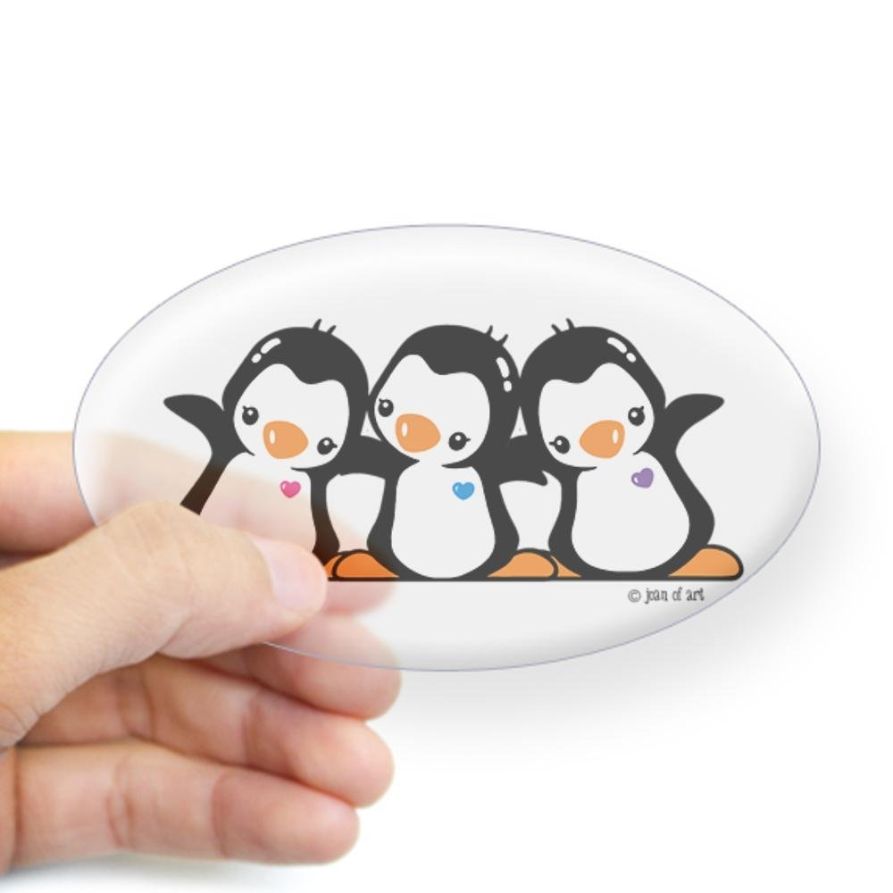 CafePress - Penguins (together) Sticker (Oval) - Oval Bumper Sticker, Euro Oval Car Decal