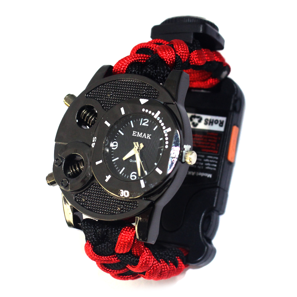 New military survival kits paracord tactical survival watch, Red black