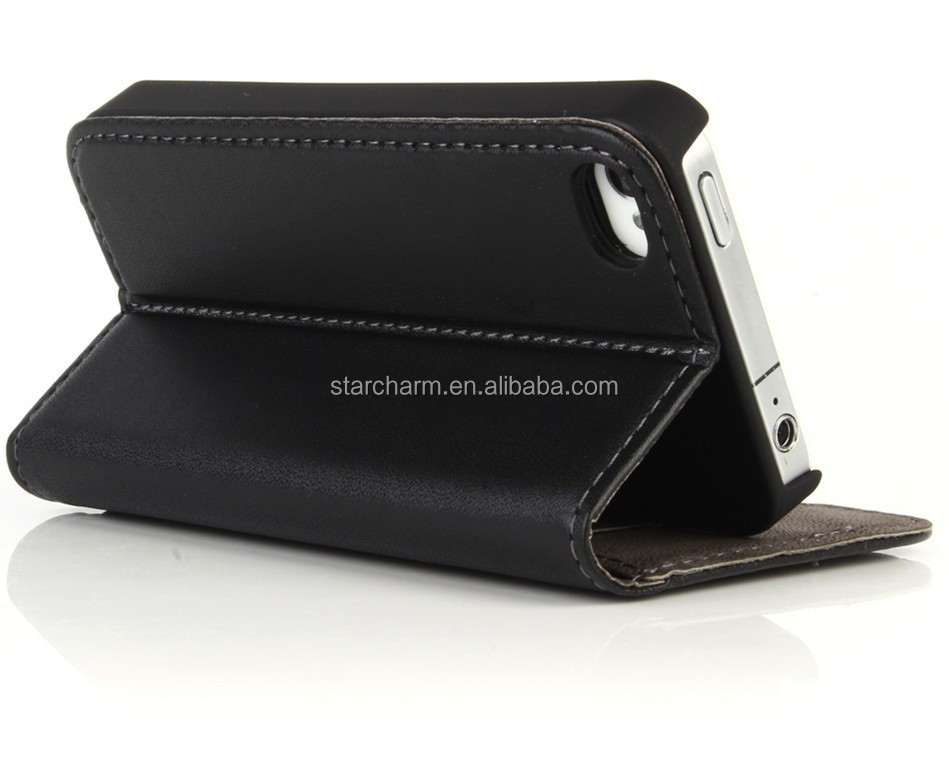 Cheap great quality PU Leather Wallet Case for iPhone 4s