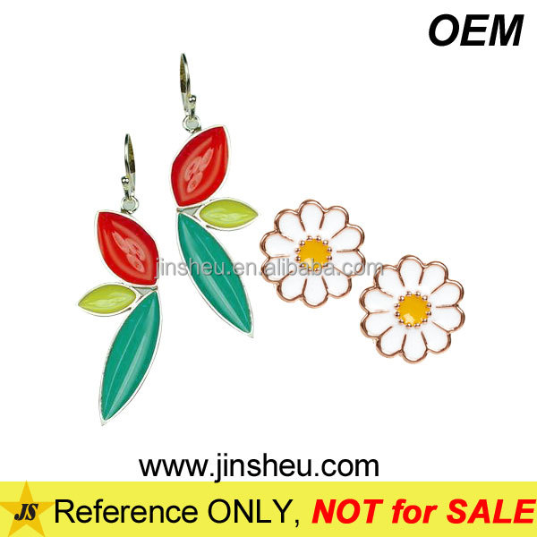 Manufacturer Custom Made Jewelry Christmas Enamel Flower Earrings