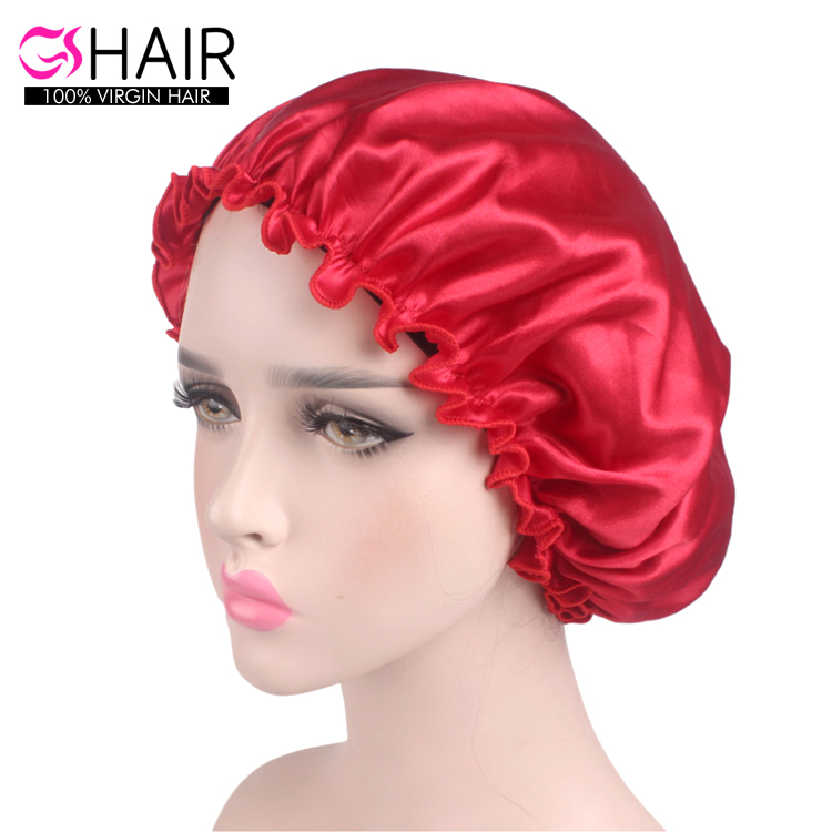 Soft sleeping night hat caps silk hair bonnet women shower cap