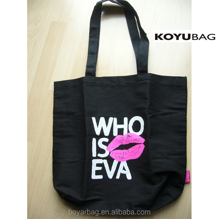 Custom WHO IS EVE cotton handbags gift sling bag tote bag black