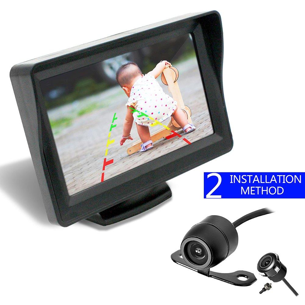 36 Month Warranty Backup Camera and Monitor Kit For Car/MPV/PICKUP/Truck/SUV,Universal Wired Waterproof Rear-view 2-installation Car Rear Backup Camera + 4.3 LCD Rear View Monitor