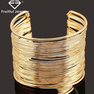 Gold Silver Plated Bangles Hollow Wire Metal Bangles Wide Cuff Multi Ring Bracelet