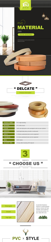 Color de madera de 3mm de borde de pvc para muebles Accesorios