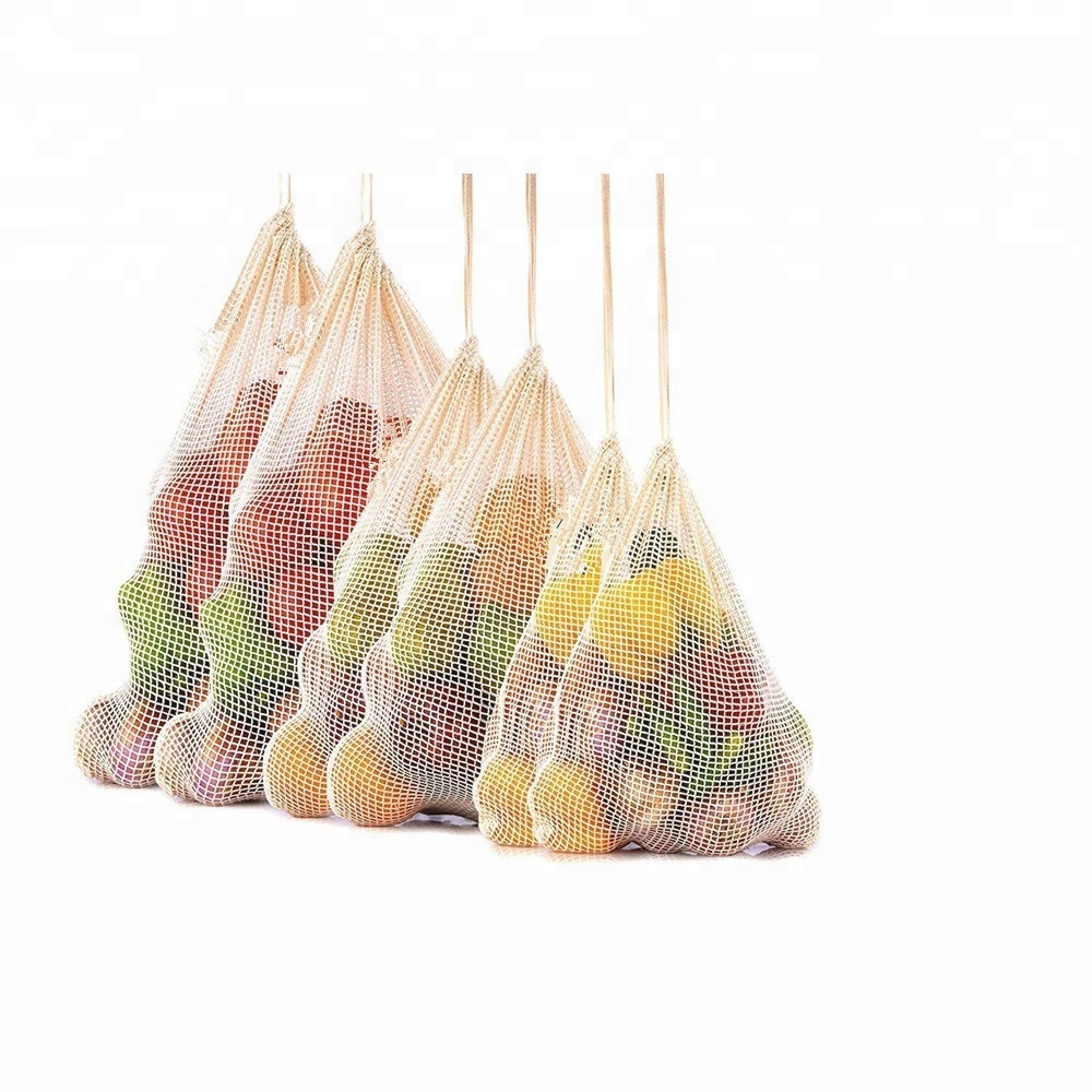 Lightweight drawstring Washable REUSABLE MESH cotton PRODUCE BAGS FOR Grocery Bags shopping storage fruits and vegetable
