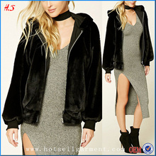Latest Stylish Long Sleeve Hooded Jacket Faux Fur Coat Ladies Winter Coats